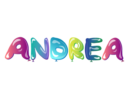 baby announcement card: beautiful female name Andrea text