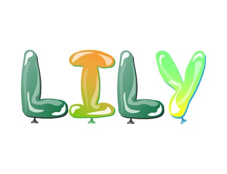 baby announcement card: Lily female name design text balloons vector illustration