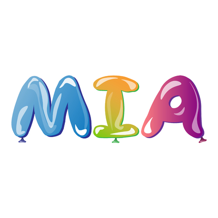 baby announcement card: Mia Female name text balloons vector illustration Illustration