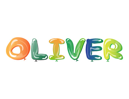 Male name Oliver text balloons vector illustration