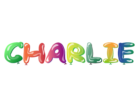 Male name Charlie text balloons Illustration