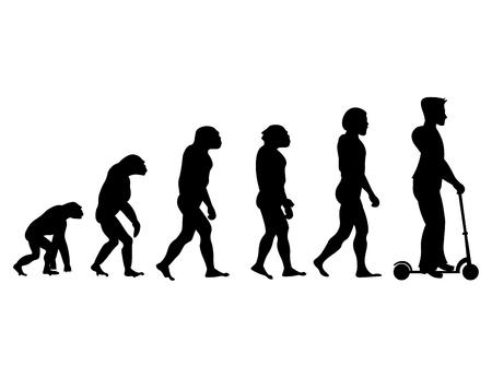 Théorie évolution de l'humain. Du singe à l'homme en scooter. Vecteurs