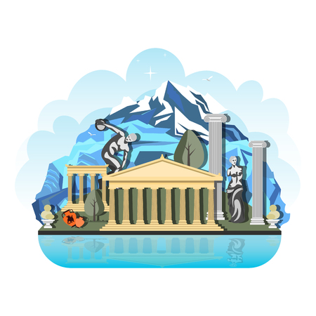 Das Designmuster des Landes in Griechenland. Reise Sehenswürdigkeiten