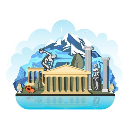 El patrón de diseño del país en Grecia. Lugares de viaje
