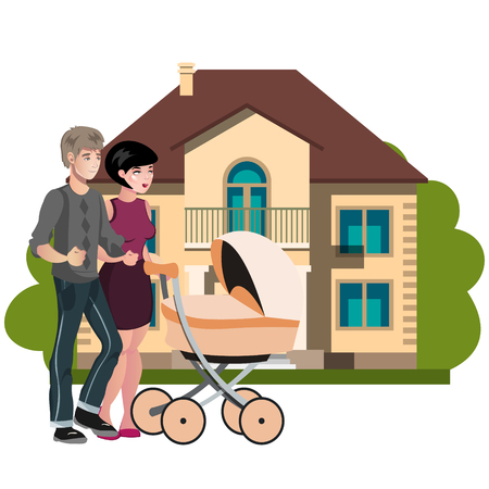 Young family outside in front new house Illustration