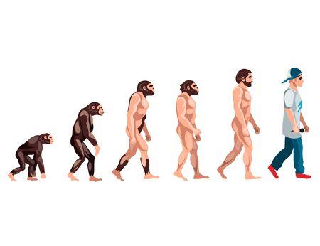 Evolution from monkey to rapper Illustration