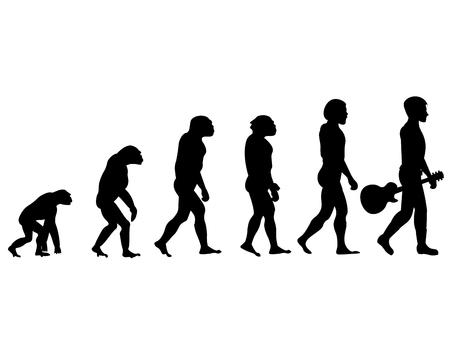 human evolution: Evolution of acoustic guitar player Illustration