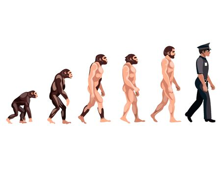 human evolution: Police Evolution on white background