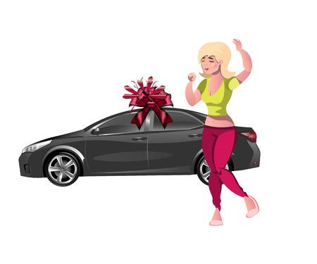 Girl enjoys the gift. New car. Vector illustration