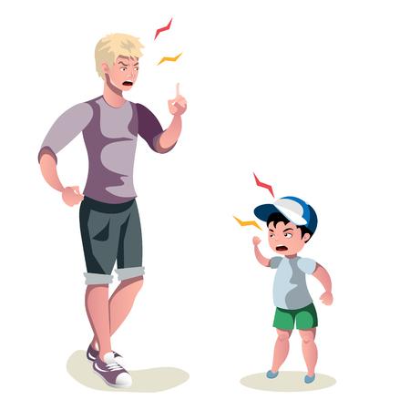 padre está discutiendo con su hijo