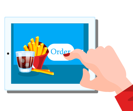 mobile marketing: People holding tablet in hand to order food online.