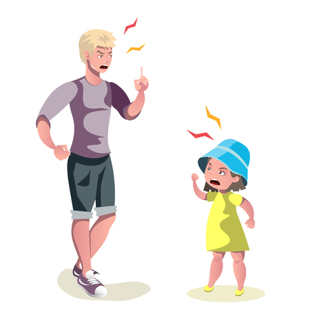 Father character scolding his daughter