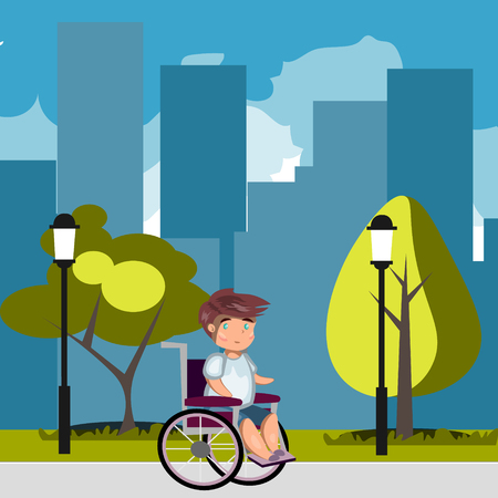 Man in wheelchair in park Illustration