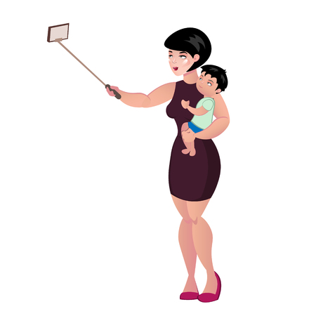 telephone cartoon: Mother holding her baby and making a photo selfie. Illustration