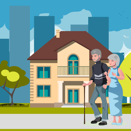 Old couple with house home image Illustration