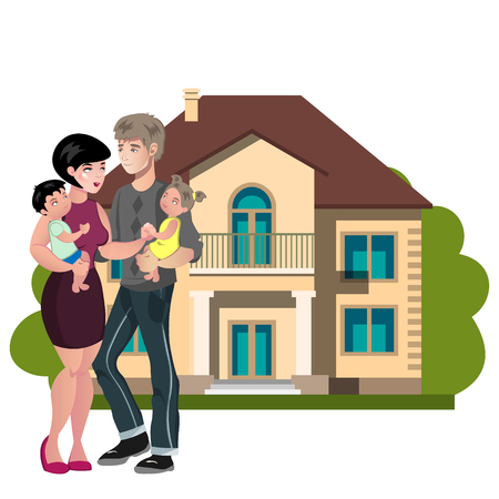 Couple standing outside new home illustration.