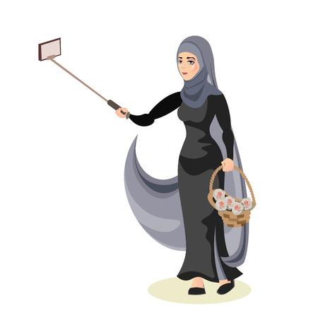 Arab woman taking selfie.