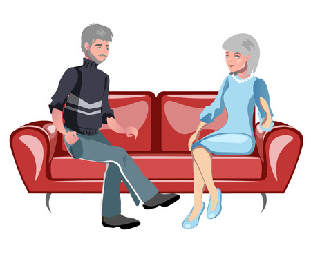 Grandparents sitting on the couch Illustration