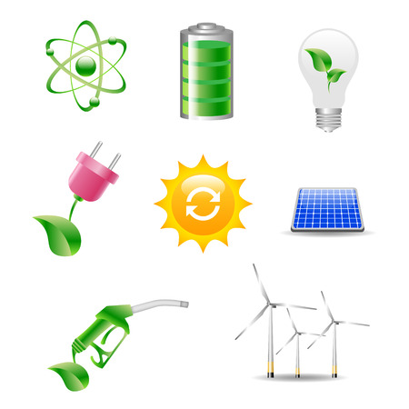 Eco friendly icon set in green Stock Illustratie