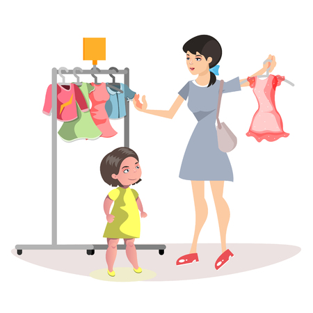 Mommy and Little Daughter Shopping Together