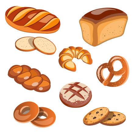 Set of bread products isolated. Vector illustration