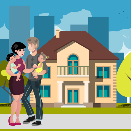 Young family happy outside in front of new house. Vector illstration
