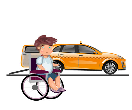 mode of transport: Taxi or car for man on wheelchair. Illustration