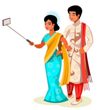 Time to take selfie Indian couple.