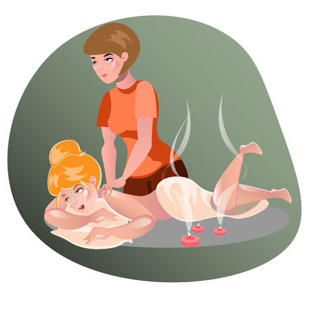masseuse: Woman having a massage in a spa. Illustration