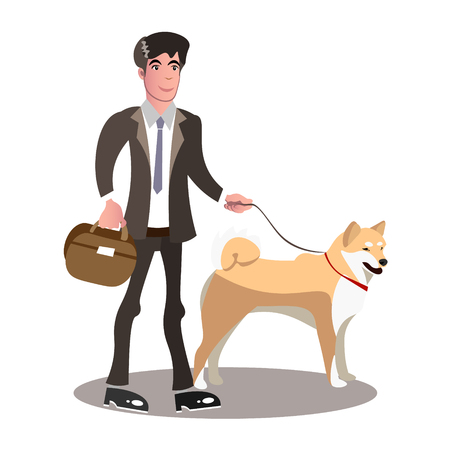 Businessman and dog cartoon.