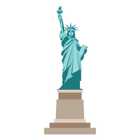 Odosobniona statua wolności na białym tle Ilustracje wektorowe