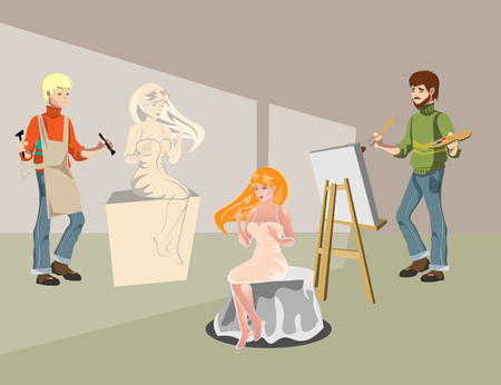 Cartoon sculptor and painting artist Illustration