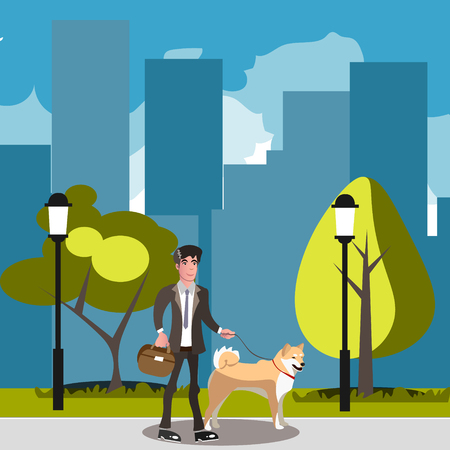 Man walking with his dog. Illustration