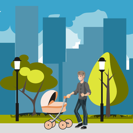 Father with stroller in the city Illustration