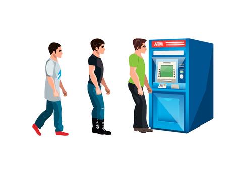 automatic transaction machine: Personas esperando para hacer cola en un cajero automático Vectores