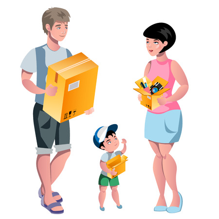 Family packing their stuff and prepare for relocation. Illustration