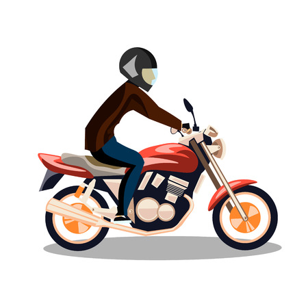 motobike: Motorcyclist on a motorcycle isolated. Illustration