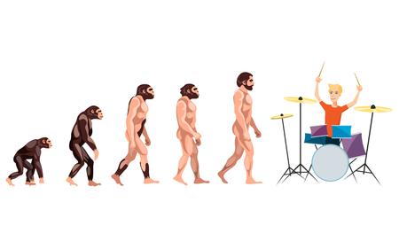 Evolution drummer on white background