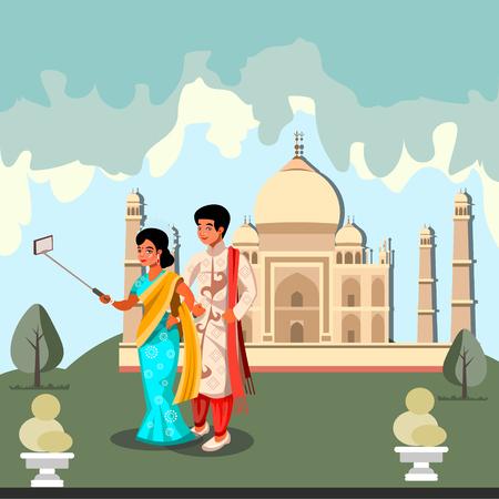 Happy Indian couple makes selfie.