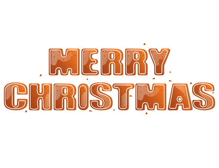 Gingerbread inscription Merry Christmas isolated on white background Illustration