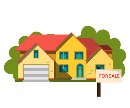 Sale house in flat design style.