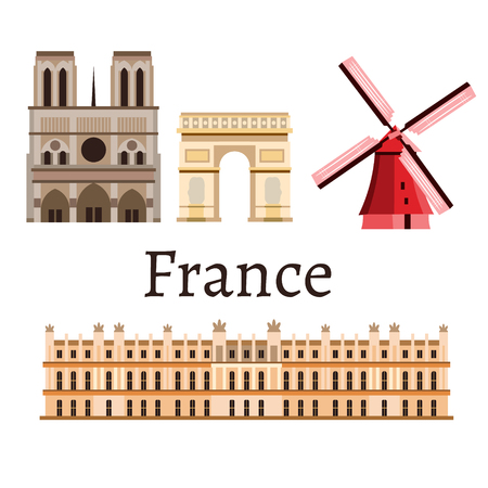 France symbol set of different icons, isolated on white background Illustration