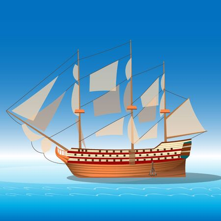 floating: Wooden ship in sea.