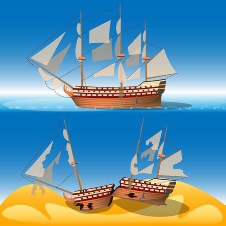 Ship at sea and shipwreck vector illustration. Illustration