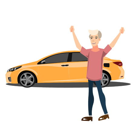 seller: Happy smiling man with new car. Illustration