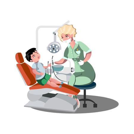 Children s dentist and patient. Vetores