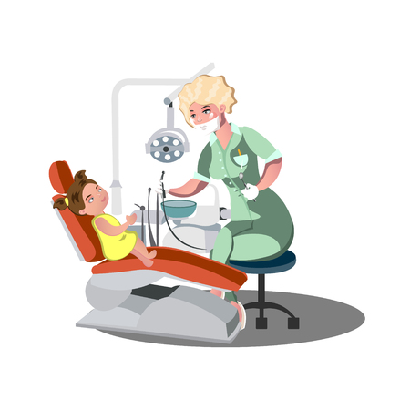 Child girl in the dentist s chair with a toothache. Stock Photo