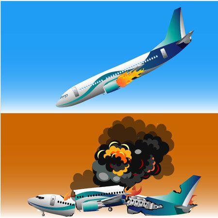 Plane crash with fire