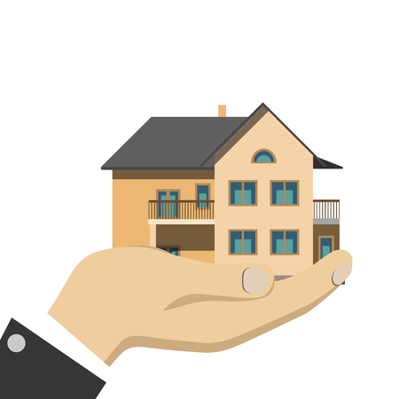 Businessman holding a house isolated Illustration