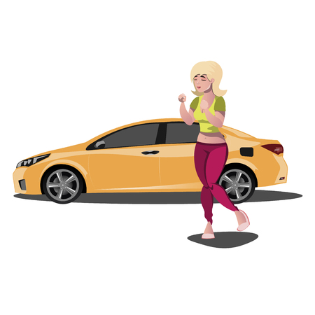 Young woman with new car.